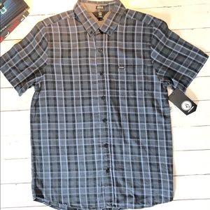 NWT. Volcom Men's Keiran Plaid Pocket Shir Blue M.
